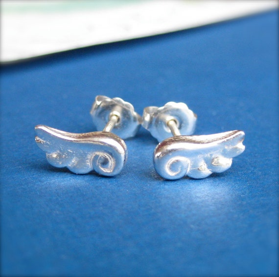 Silver Angel Wings Stud Earrings, Small Silver Stud Earrings