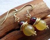Faceted Garnet and Lemon Chalcedony Earrings