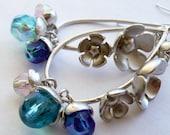Handcrafted Artisan Silver Blues Czech Glass AB Beads Boho Hippie Chic Beach Gypsy Long Oval Hoop Dangle OOAK Earrings
