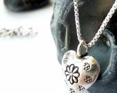 Sweet Heart KHT Fine Silver Artisan Heart Sterling Silver Box Chain Minimalist Bohemian Necklace