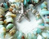 BEACH  Blue Peruvian Opal Sterling Silver Starfish Necklace