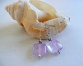 Handcrafted Artisan Lavender Cape Amethyst Sterling Silver Minimalist Boho Hippie February Birthstone Gift for Her Dainty Dangle Earrings