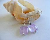 Handcrafted Artisan Light Purple Gemstone Amethyst Sterling Silver OOAK Minimalist Boho Hippie Feb Birthstone Gift for Her Dainty  Earrings