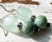 Green Jade Turquoise Sterling Silver Gypsy Bohemian Green Goddess Unique Gift Earrings