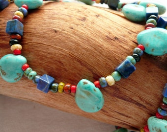 Turquoise Lapis RARE White Hearts Multi Colored Bohemian Glass 14kt Gold Vermeil Southwestern Rustic Gift for Her OOAK Long Necklace