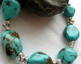 Blue Kingman Turquoise Nugget Sterling Silver Fine Silver OOAK Artisan Southwestern Western Cowgirl Gift for Her Boho Beach Bracelet