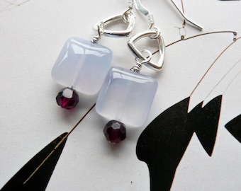 Handcrafted Artisan OOAK Minimalist Geometric Purple Chalcedony Garnet Sterling Silver Bohemian Hippie Dangle Earrings