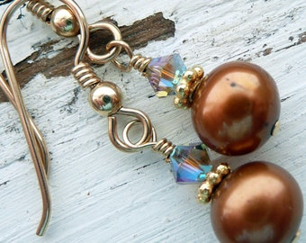 Handcrafted Artisan Brown Golden Bronze  Fresh Water Pearl Swarovski Crystal Gold Vermeil OOAK Boho Hippie Beach Dangle Earrings