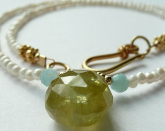 Handcrafted Artisan Green Grossular Garnet Faceted Teardrop Aquamarine Fresh Water Pearl OOAK Bohemian Hippie Necklace