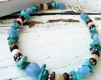 Handcrafted Artisan Semi Precious Stone Sterling Silver OOAK Bohemian Hippie Wild Flower Blues Bracelet