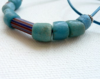 BLUE  Sandcast African Beads Vintage Chevron Bead Sterling Silver Leather OOAK Unisex Southwestern Beach For Him or Her Necklace