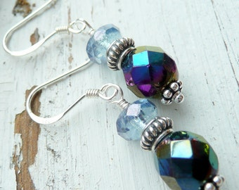 Black and Blue Czech Glass Sterling Silver Unique Bohemian Gypsy Earrings