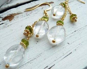 Handcrafted Artisan OOAK Aquamarine Peridot Gold Vermeil Wire Wrapped Bohemian Gypsy Long Dangle Earrings