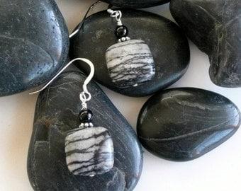 Handcrafted Artisan Black Water Jasper Onyx Sterling Silver OOAK Organic Rustic Bohemian Minimalist Gift For Her Earrings