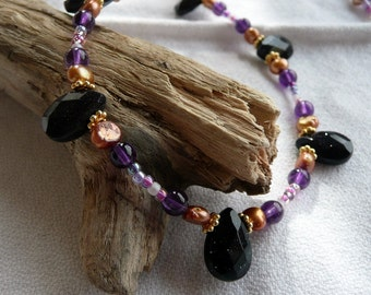 Handcrafted Artisan Blue Goldstone, Copper Fresh Water Pearl, Amethyst ,14kt Gold, Glass Bead OOAK Eceletic Boho Gypsy Gift for Her Necklace