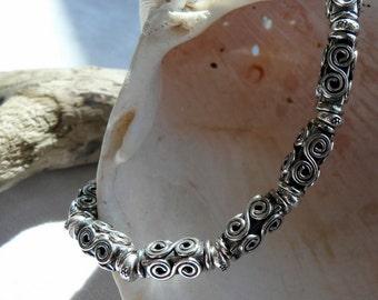 Handcrafted Artisan Hill Tribe Fine Silver Sterling Silver OOAK Southwestern Western Boho Hippie Cowgirl Minimalist Bracelet