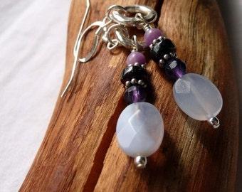 Handcrafted Artisan Lavender Chalcedony Amethyst Garnet Sterling Silver OOAK Bohemian Hippie Gypsy Dangle  Earrings