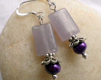 Handcrafted Artisan Purple Pearl Lilac Lepidolite Semi Precious Stone Sterling Silver Victorian Boho Eclectic Gypsy OOAK Dangle Earrings