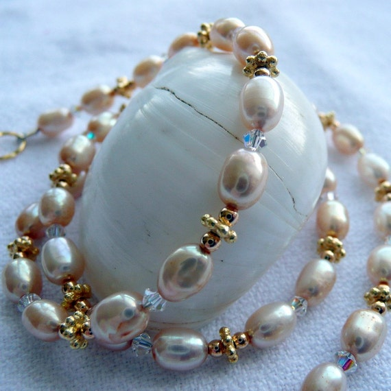 Apricot Fresh Water Pearls with Swarovski Bicone Crystals and Gold Vermeil Bali Beads Necklace