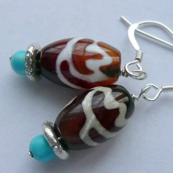 A Little Brown A Little BlueTibetan  Dzi Bead Turquoise Sterling Silver Bohemian Dangle Earrings