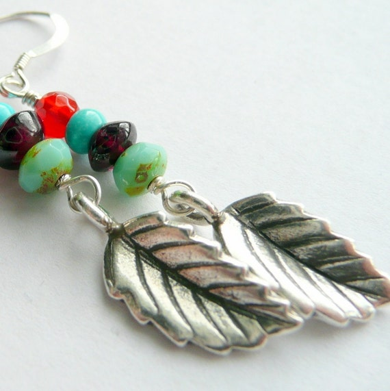 Falling Leaves  Carnelian, Turquoise, Garnet and Picasso Glass Earrings