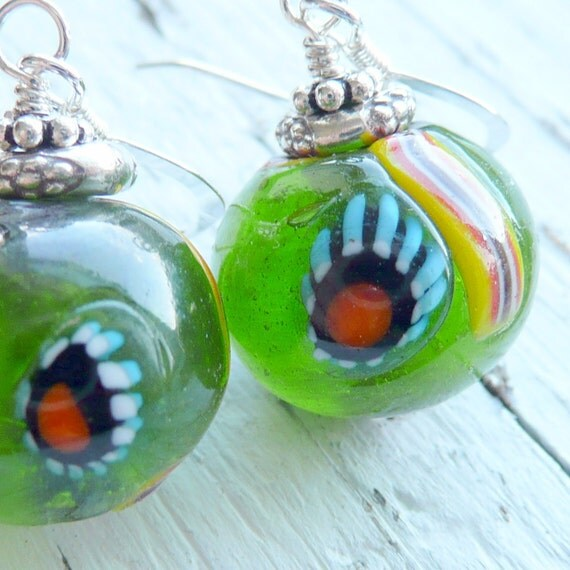 Vintage Green Glass Millefiore Sterling Silver Orb Earrings
