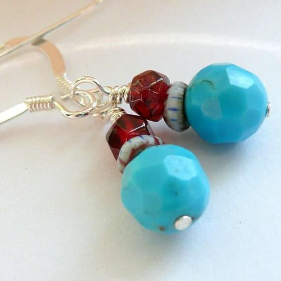 Handcrafted Artisan  Sky Blue Turquoise Rare Trade Bead Garnet Sterling Silver OOAK Dangle Drop Boho Hippie Festival Gift for Her Earrings
