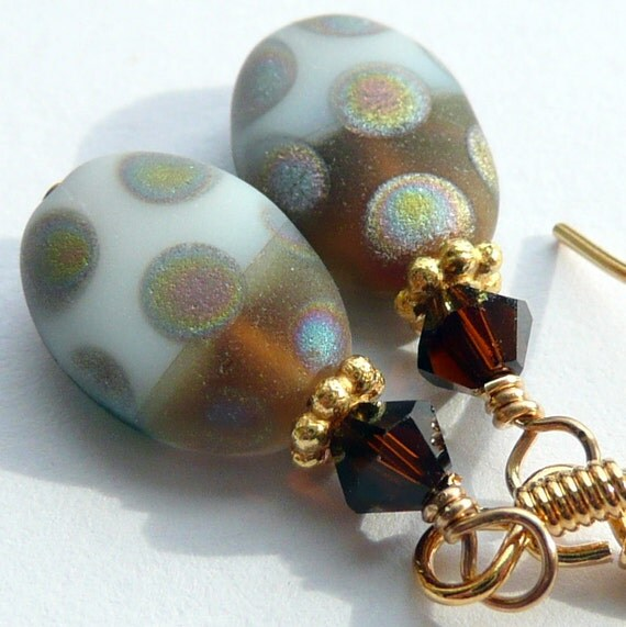 Klimt Earrings Multi Colored Czech Glass Swarovski Crystal Gold Vermeil Dangles