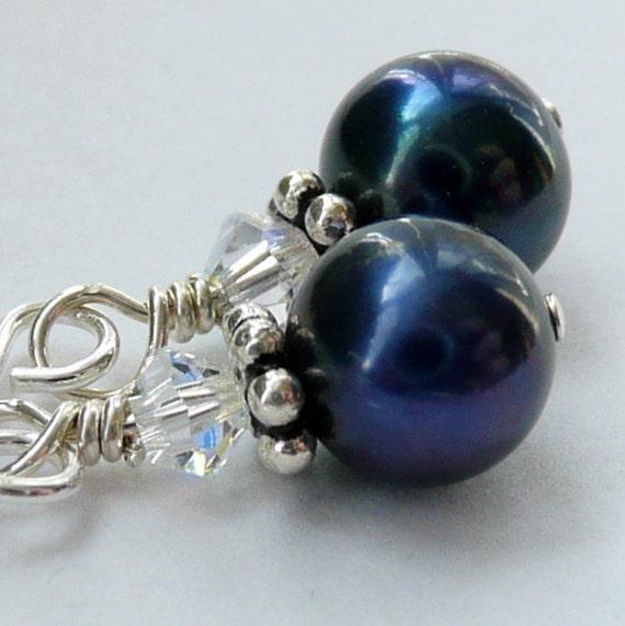 Tiny Dancer Indigo Fresh Water Pearl Swarovski Crystal Earrings