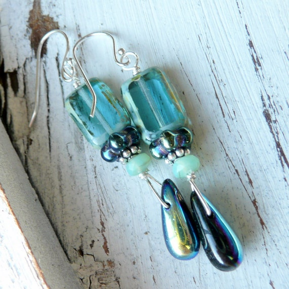 Picasso Blue OOAK Bohemian Glass Sterling Silver  Earrings