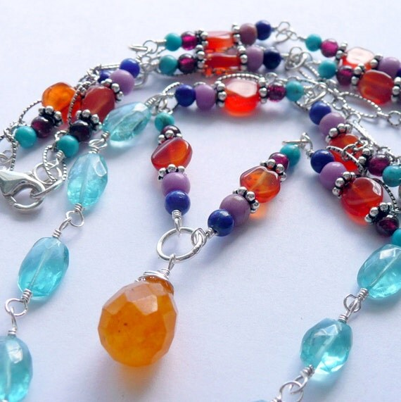 Handcrafted Artisan Aquamarine Double Strand OOAK Bohemian Wire Wrapped  Multi Gemstone Hill Tribe Pendant Necklace
