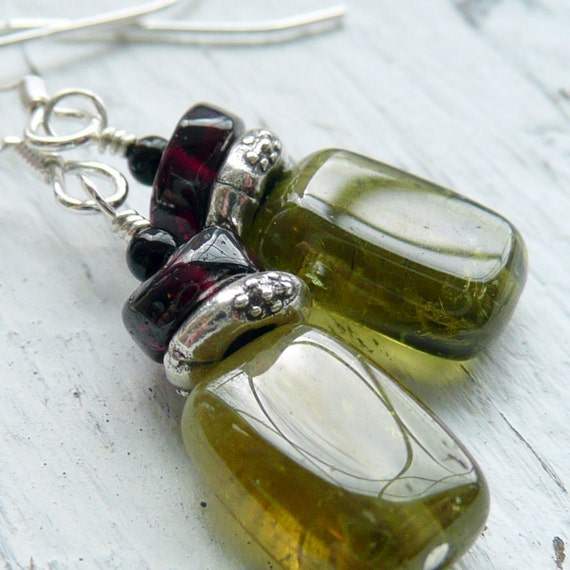 Message in the Bottle Double Garnet Onyx Sterling Silver Earrings