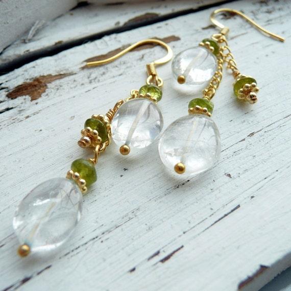 Handcrafted Artisan OOAK Aquamarine Peridot Gold Vermeil Wire Wrapped Bohemian Gypsy Long Dangle Earrings