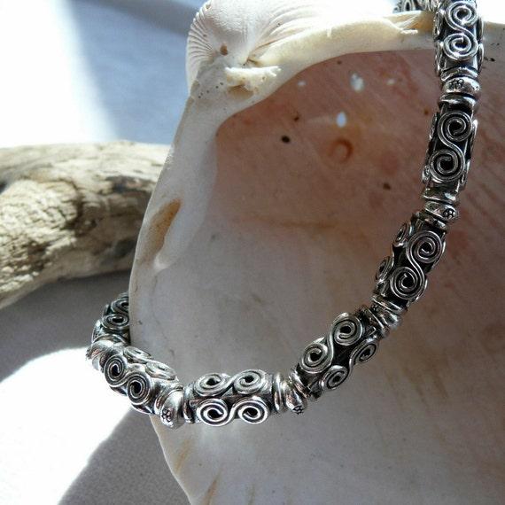 Sterling Silver and Karen Hill Tribe Artisan Fine Silver OOAK Beaded Southwestern Western Boho Hippie Cowgirl Minimalist Bracelet
