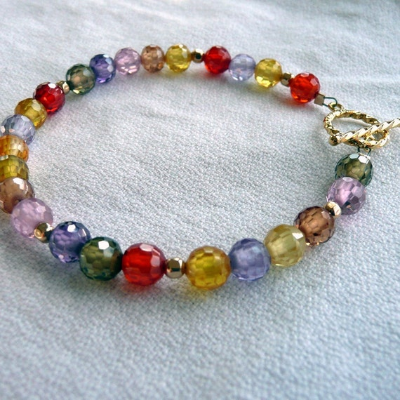 Juicy Fruit  A Multi Colored Swarovski Crystal Gold Vermiel Bohemian Gypsy OOAK Bracelet