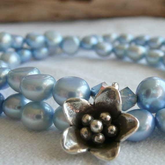 Powder Blue Fresh Water Pearl Karen Hill Tribe Fine Silver Flower Austrian Crystal Sterling Silver Bohemian Eclectic OOAK Necklace