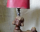 REDUCED Vintage Poodle lamp - extremely SHABBY