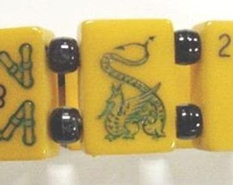Large wrist bakelite green dragon mahjong game bracelet 8 Tiles