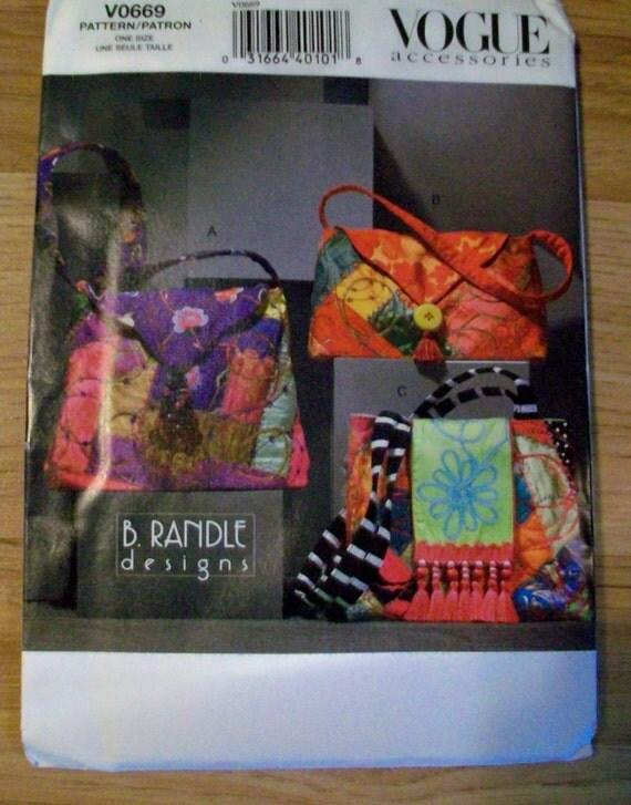 Vogue Pattern V0669 Handbags