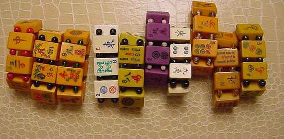 10 PC Antique Bakelite Mah Jongg Game tile Bracelets Lot Bakelite, Lucite and Bone by Jan Carlin