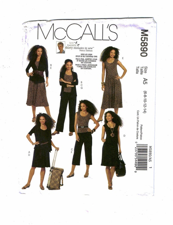 """McCall's """"Thirty Minutes to Sew"""" Pattern M5890, Misses' Jackets, Top, Dress and Pants in Two Lengths, Size A5 (6-8-10-12-14)"""