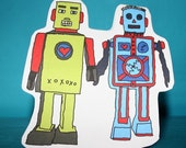 Robots Holding Hands cut out card