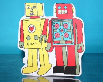 Two Robots cut out greeting card
