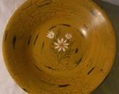 Big 14 inch Wooden Bowl Original Primitive Folk Art Daisies Painting AzureDandelion
