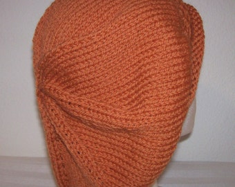 Rolled Brim Wool Tam - Slouchy Knit Beret - Knitted Dreadlock Tam - Pumpkin Orange