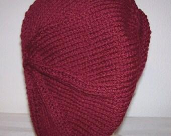 Rolled Brim Wool Tam - Slouchy Knit Beret - Knitted Dreadlock Tam - Burgundy