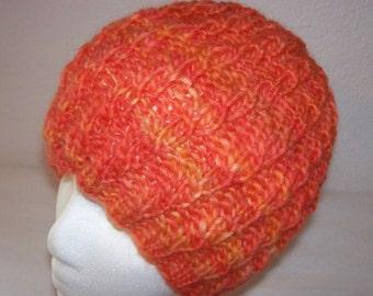 """HANDSPUN Wool Beanie - """"Hand Spun"""" Knit Hat - Knitted Wool Cloche - Variegated Tangerine - OOAK"""