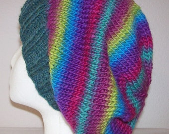 Wool/Nylon Slouch Hat - Slouchy Knit Beanie - Knitted Dreadlock Beanie - Roller Skate