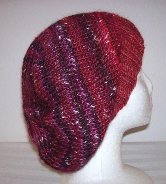 Wool/Silk Knit Slouch Hat/Beanie - Red/Purple