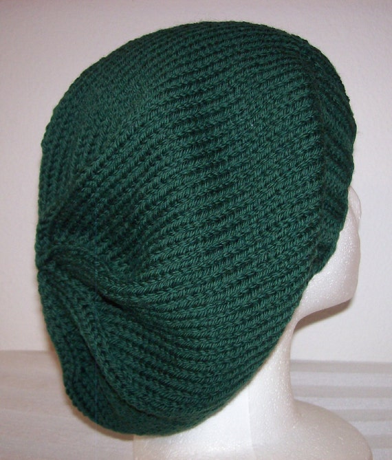 Wool Slouch Hat - Slouchy Knit Beanie - Knitted Dreadlock Beanie - Forest Green